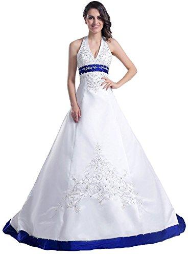 Edaier Frauen Perlen Halfter bestickt Satin Kleid Vintage Braut Brautkleid Größe 36 Weiß Blau