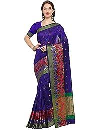 G Stuff Fashion Women's Cotton Saree With Blouse Piece (Ta-40_Dark Blue Dot Flower Saree_Dark Blue)