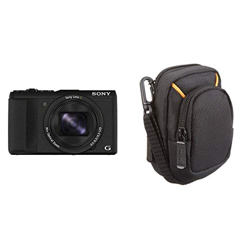 Sony DSC-HX60 Digitalkamera (20,4 Megapixel, 30-Fach Opt. Zoom, 7,5 cm (3 Zoll) LCD-Display, Exmor R CMOS Sensor, NFC/WiFi) schwarz & AmazonBasics Kameratasche für Kompaktkameras, mittlere Größe - 60 Lcd-tv Sony