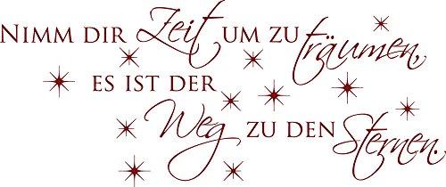 119 Wand (GRAZDesign Schlafzimmer Wandtattoo Nimm dir Zeit um zu träumen - Wandsticker Wandspruch mit Sternen - Wandtattoo Motivation Sprüche Wand / 119x50cm / 670046_50_030)