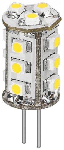 5 Stück - LED G4B rund warm weiß 15 SMD3528 75LM; LED-Chip für G4 Lampensockel mit 15 SMD LEDs; Leuchtfarbe warm weiss (696044.2) (5 Sockel Stück Runde)