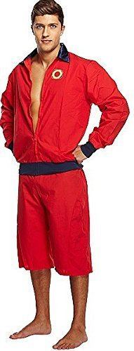 Low Cost Men's Lifeguard Fancy Dress Outfit for 90s Baywatch Fancy Dress
