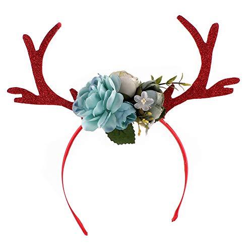 TrifyCore Weihnachten Kitz Horn Stirnband Hirschgeweih-Haar-Band mit Blumen DIY Feiertags-Party-Zubehör (blau)