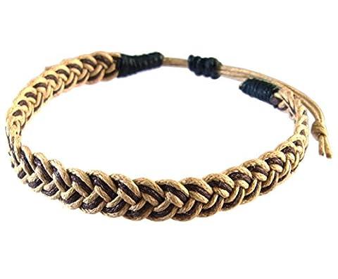 Artisan Asiatique Bracelet Fait Main 100% Ficelle de Coton Couleur Brun