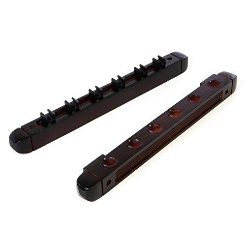 Mahagoni-halterung (Nexos Billard Queue Wandhalterung Rack für Cues aus Holz für Billardtisch Snooker Halterung 2-teilig für 6 Queues Mahagoni-Farben)