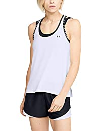 Under Armour UA Knockout Tank, Camiseta De Tirantes, Camiseta Deportiva para Mujer Mujer, Blanco, L