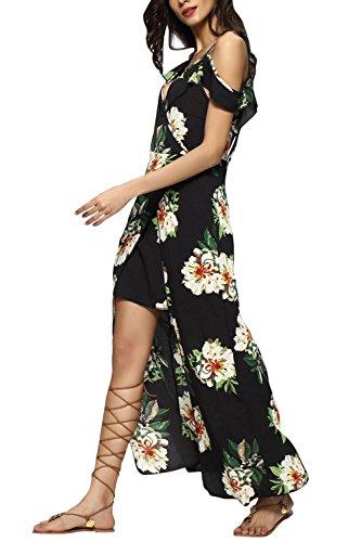 Babyonline® Damen Sommerkleid Strandkleid Casual Lang mit Schlitz/ Floral Druck Cocktailkleider Partykleider/ Schulterfrei Boho Maxikleider Schwarz