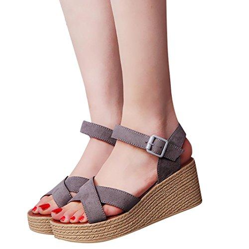Transer® Damen Sandalen Blockabsatz Slingback Wildleder+Polyurethan Grau Schwarz Rot Sandalen (Bitte achten Sie auf die Größentabelle. Bitte eine Nummer größer bestellen) Grau