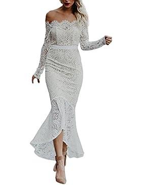 Spitzenkleider Damen, DoraMe Frauen Lockere Schulter Party-kleid Beiläufige Abendkleid Langarm Kleid