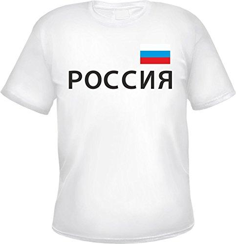 Russland Herren T-Shirt mit Schriftzug und Flagge Weiß
