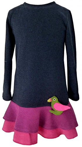 Trocadero Winter Kleid Mädchen langarm in Dunkelblau mit Papagei handgemacht Gr.134