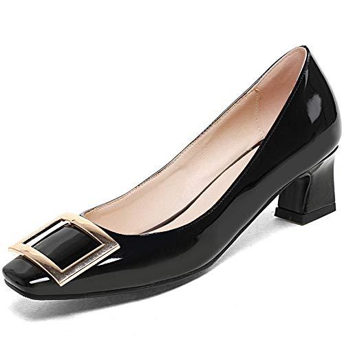 Womens Block Heels Elegante Slip-on-Pumps mit niedrigem Absatz Büro-Hochzeitspumps mit mittlerem Absatz,Black-EU43/265 Utility Block