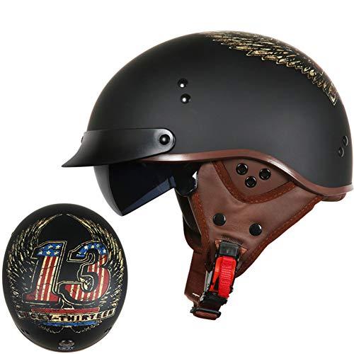 Elektrischer Fahrzeuglichtsturzhelm des Retro- Motorradsturzhelm-Schutzohres halber Sturzhelmabdeckungssommer weiblicher-L-10