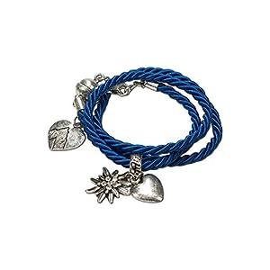 Alpenflüstern Trachten-Wickelarmband Edelweiß – Damen-Trachtenschmuck, Trachtenarmband, Kordel-Armband in Traditionellen Farben DAB026