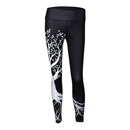 3D-gedruckten Leggings Frauen hohe Taille Leggings Digitale 3D-Baum Drucken Slim Polyester Harajuku Legging schwarz M