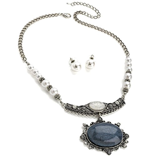 Vintage Antik Silber Faux Pearl Marmor Stein Schmuck Set Silver Pearl Set