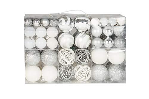 Lifestyle & more esclusive sfere per albero di natale set con 100 pezzi color bianco/argento