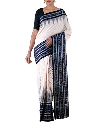 Unnati Silks Women Cream-Black Pure Handloom Sambalpuri Cotton Ikat Saree(UNM22066)