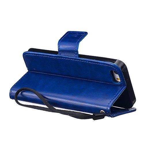 iPhone SE 5 5S Case , Cozy Hut [ NEW Style ] Lovers pissenlit Portefeuille PU Cuir With Stand Magnétique Flip Coque Étui Cover Pour iPhone SE 5 5S -rose bleu