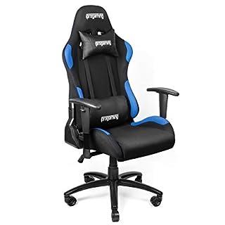 iProgaming | Gaming-Stuhl – Schreibtisch- und Bürostuhl für Gamer mit Stoffbezug in Schwarz-Blau | Belastbarkeit bis zu 200 kg