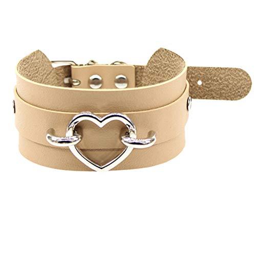 Fenverk Choker Halsketten Velvet Spitze Halsreifen samt Halsband Choker Halskette für gotische Tattoo Valentinstag Geburtstag Geschenk -Kette(H Khaki)