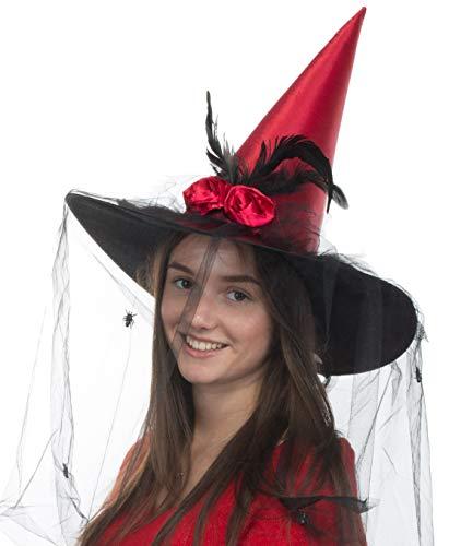 Brandsseller Hexenhut Damen Bordeaux Kopfbedeckung Karneval Fasching Halloween Größe: Ø ca. 42 cm