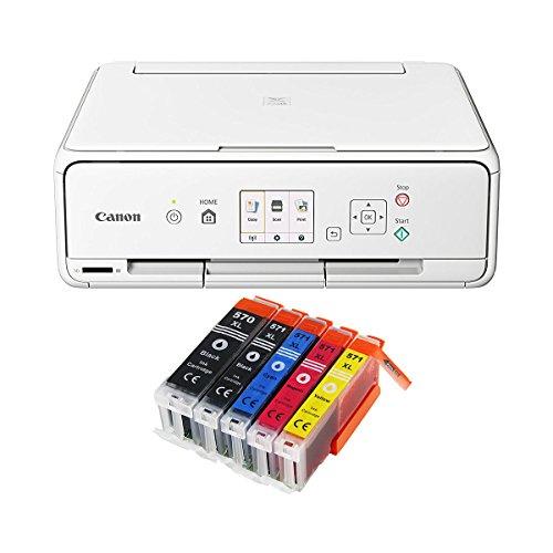 Canon Pixma TS5051 TS-5051 Farbtintenstrahl-Multifunktionsgerät (Drucker, Scanner, Kopierer, USB, WLAN, Apple AirPrint, SD-Kartenleser) weiß + 5er Set IC-Office XL Tintenpatronen 570XL 571XL