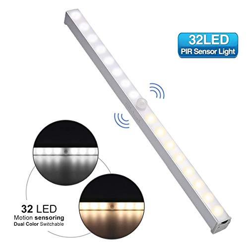 LED Schrankbeleuchtung, Elfeland 32 LED Dimmbar Nachtlicht Lichtleiste mit Bewegungsmelder Schrankleuchte Batteriebetrieben Sensor Licht mit 2 Farbwechsel (Weiß/Warmweiß) für Schrank Küche Treppe
