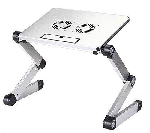 Ständer Laptop Betttisch, faltbar für Laptop mit Tablett von USB Ventilation Kühlung Silver Notebook Laptop Ständer Tisch Kühler - 2 Lüfter - Aluminium - Ausklappbare Ebenen