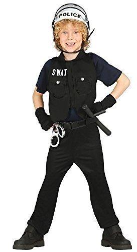 Jungen American SWAT Cop Polizei Uniform Rettungsdienste Kostüm Kleid Outfit 3-12 jahre - Schwarz, 3-4 (Kleid Kinder Für Polizei)