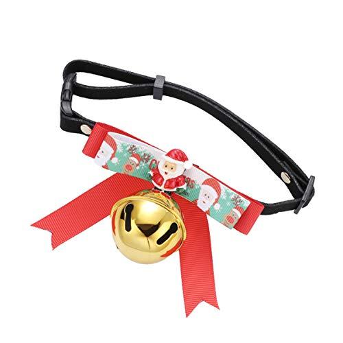 Amosfun Weihnachten Hundehalsbänder Katze Abreißhalsbänder mit Glocke verstellbare Fliege Santa Kragen für Hunde Katzen -