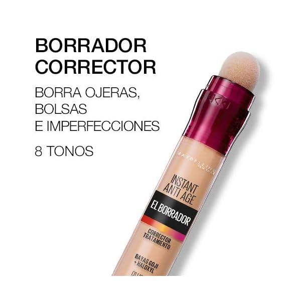 Maybelline Corrector de Ojeras, Bolsas e Imperfecciones Borrador Ojos Tono 00 Ivory pieles claras – 6.8 ML