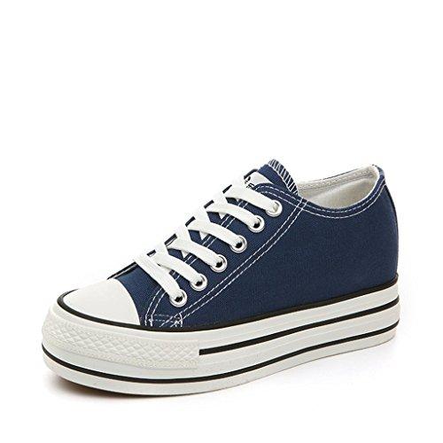 ALUK- Printemps et automne toile Chaussures Casual Shoes Chaussures étudiants coréens ( couleur : Blanc , taille : 39 ) Bleu