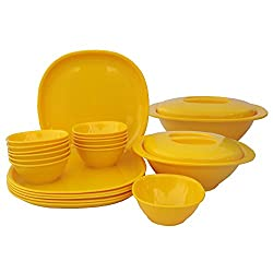 Incrizma Plastic Square Plate and Bowl Set, 22-Pieces, Yellow