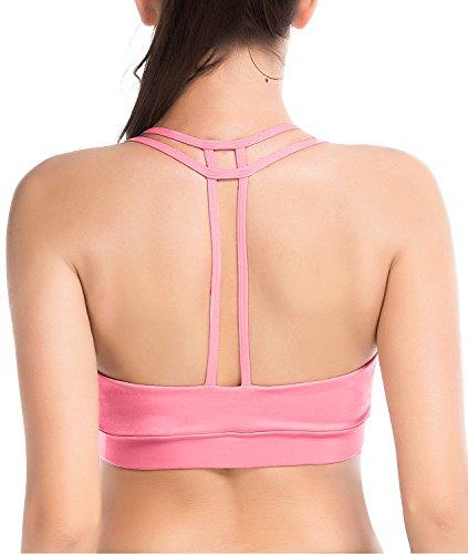 YIANNA Frauen Gepolsterter Sport BH ohne Bügel Bralette Fitness-Training Stretch BHs Atmungsaktiv Comfort Bustier Yoga Bra Crop Top,UK-YA-BRA142-Pink-M (Fitness-cami-bh)