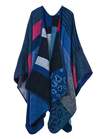 Honeystore Frau Herbst-Winter Fashion Schal Warm Umschlagtuch ärmelloser Umhang verdickte und vergrößerte 130*150CM Leopard Blau