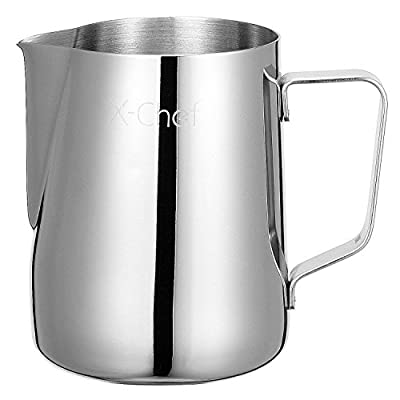 X-Chef Milk Frothing Pitcher 600ml/20oz, Stainless Steel Milk Jug Perfect for Making Coffee, Latte & Cappuccino - Dish Washer Safe