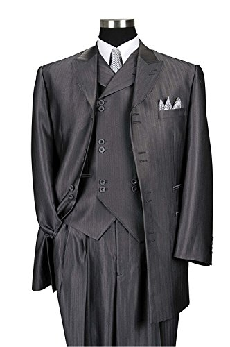Lilis® Männer Herring Bone Stripe High Fashion Anzug mit Weste und Hosen (Anzug Stripe Herren Wolle)