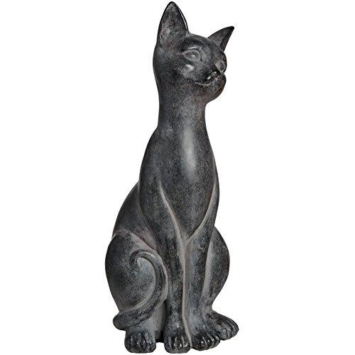 IHL groß schwarz sitzend Katze Kätzchen dekorativem Statue Figur 32cm