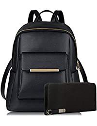 Pynk Fashion Stylish College Bags Backpacks   Clutch Combo For Women   Girls  (Black- c258ebc06e