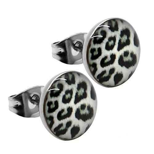 1 Paar Ohrstecker Ø 10mm Ohrringe Motiv Logo Leo Leopard Zebra Edelstahl Ohr Damenschmuck Braun Grau Weiß Grün Rosa Lila, Farbe:leo weiß -