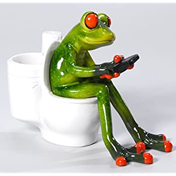 s er frosch auf toilette deko figur dekofigur dekoration zierfigur wc bad. Black Bedroom Furniture Sets. Home Design Ideas