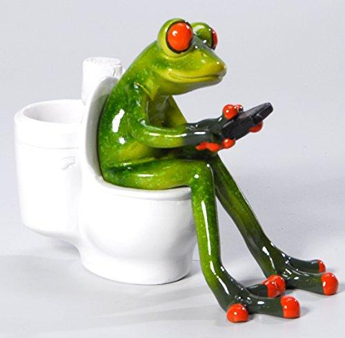 Süßer Frosch auf Toilette Deko Figur Dekofigur Dekoration Zierfigur WC Bad
