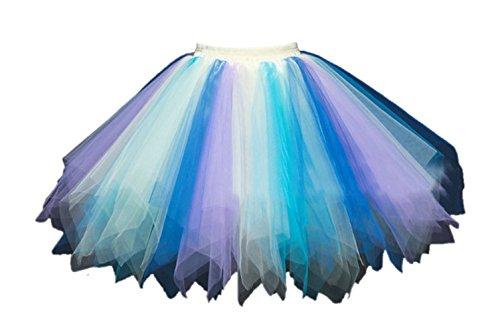 utu Unterkleid Rock Abschlussball Abend Gelegenheit Zubehör Blau Gelb und Violett ()
