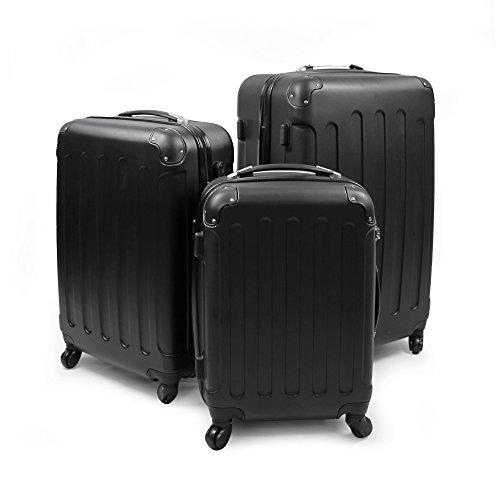 Leogreen - Set de Valises, Lot de Valises à Roulettes, Coins protégés, 51 61 71 cm, Noir, ABS, Matériau: Plastique ABS, Poids: 3 kg (petit) 3,5 kg (moyen) 4,5 kg (large)