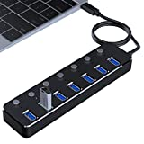 SODIAL Hub 3.0 alluminio superspeed 7 porte hub esterno USB-splitter portatile per hub Apple MacBook Air Laptop Tablet PC (nero)