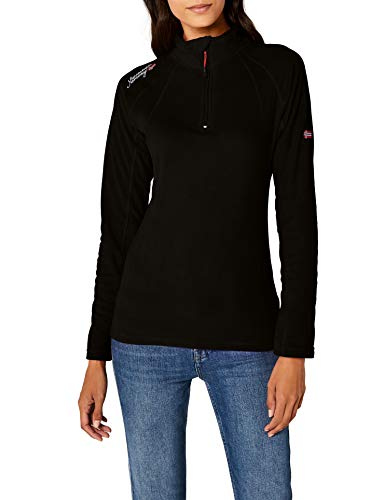 Geographical Norway Damen Sweatshirt Talmud Lady Half Zip, Schwarz (BLACK), Gr. Small (Herstellergröße: 1) -