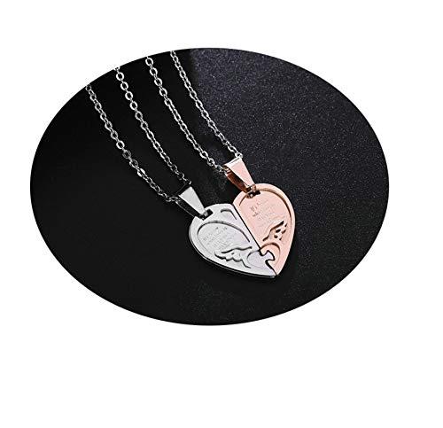 Aienid Herren Halskette Edelstahl Anhänger Rose Gold Herzförmig Halskette Herren
