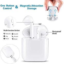 roycase Écouteurs sans Fil Touch Headset Bluetooth Les Plus récents Écouteurs en Fonctionnement Stéréo 3D Haute fidélité avec, Microphone intégré et Appel Portable