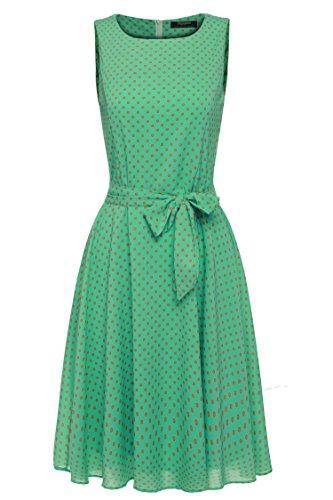 Zeagoo Damen Brautjungfernkleid Hochzeitskleid blumendruck Kleid mit Schleife